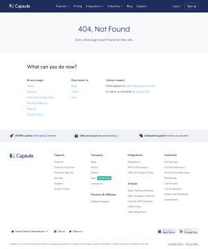 Capsule – 404 Error page