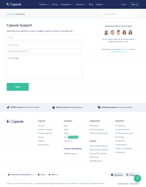 Capsule – Contact page