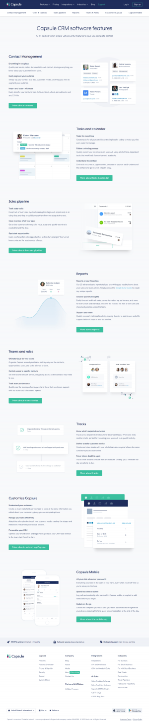 Capsule – Features page