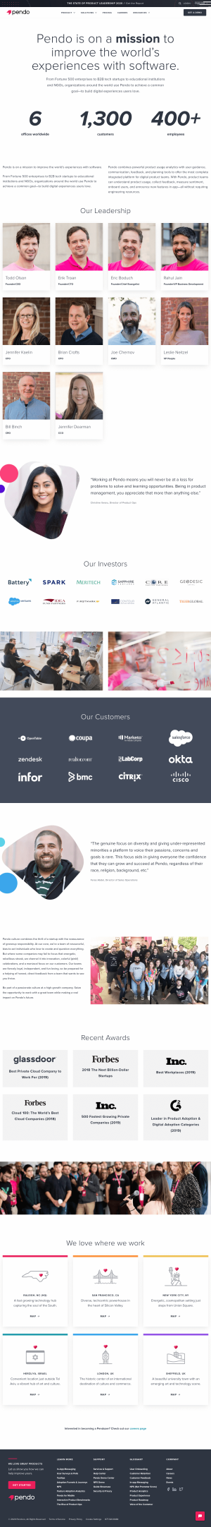 pendo.io – About Us page