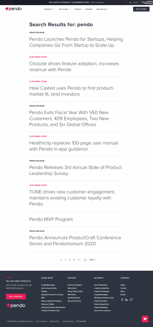 pendo.io - Search results page