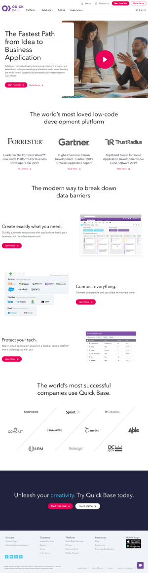 Quick Base – Homepage