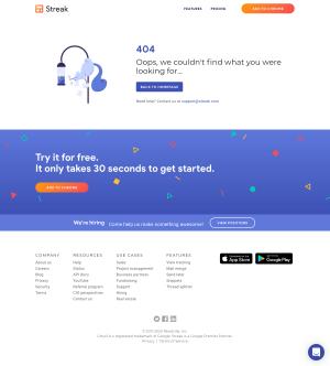 Streak – 404 Error page