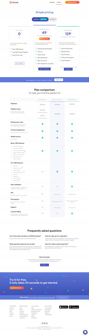 Streak – Pricing page