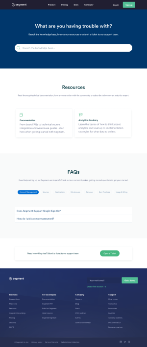 Segment – Support page