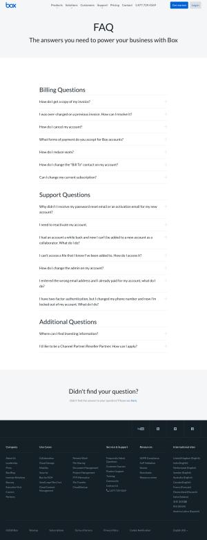 Box – FAQs page