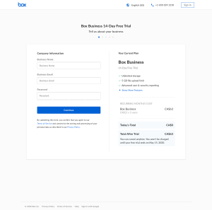 Box – Sign up page