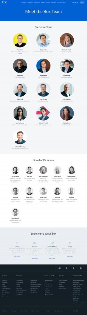 Box – Team page