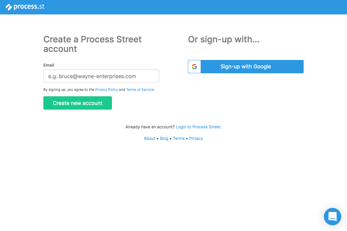 Process Street – Sign up page