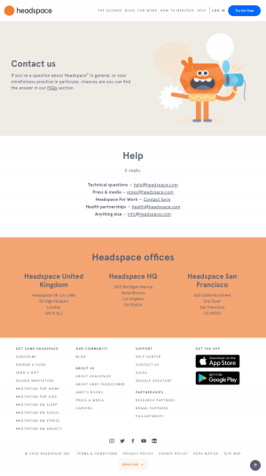 Headspace – Contact page