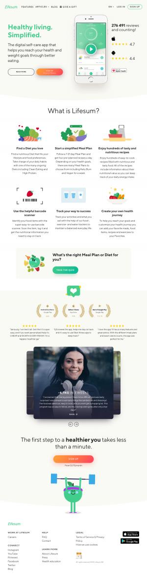 Lifesum – Homepage