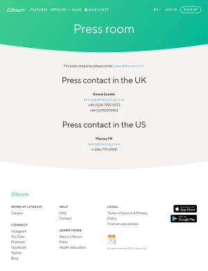 Lifesum – Media kit page