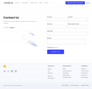 Smile.io – Contact page