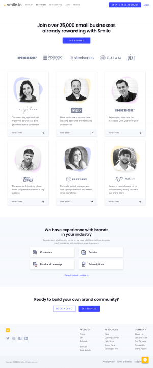 Smile.io – Customers page