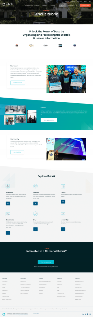 Rubrik – About Us page