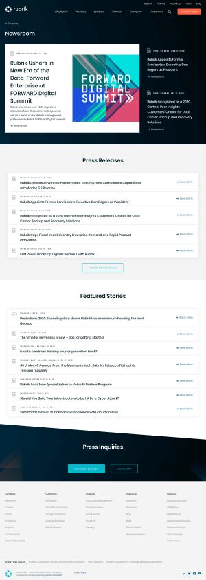 Rubrik – Newsroom page