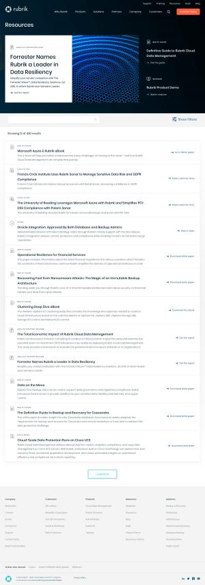 Rubrik – Resources page