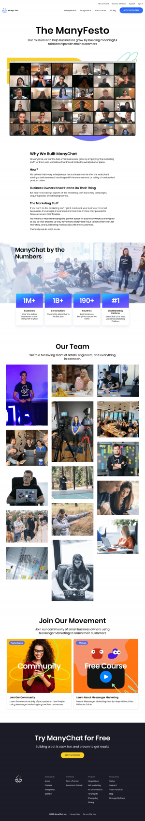 ManyChat – About Us page