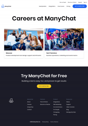 ManyChat – Career page