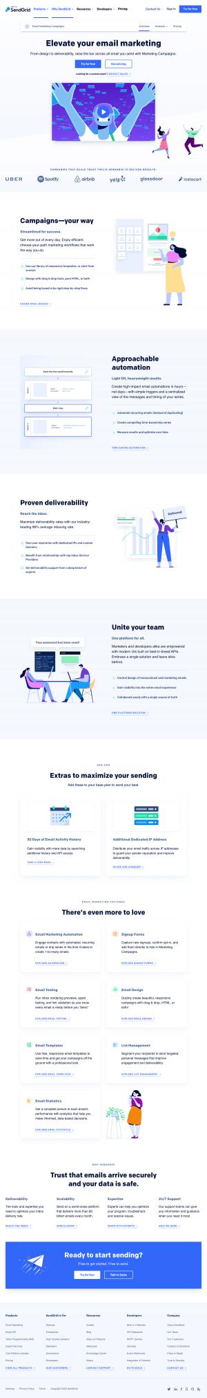 SendGrid – Features page