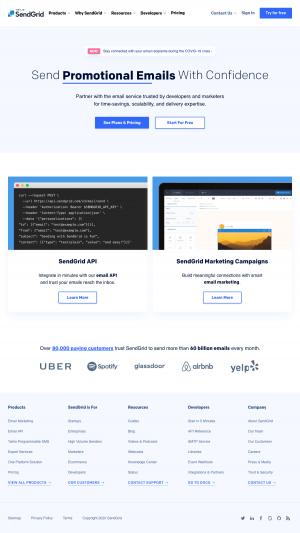 SendGrid – Homepage