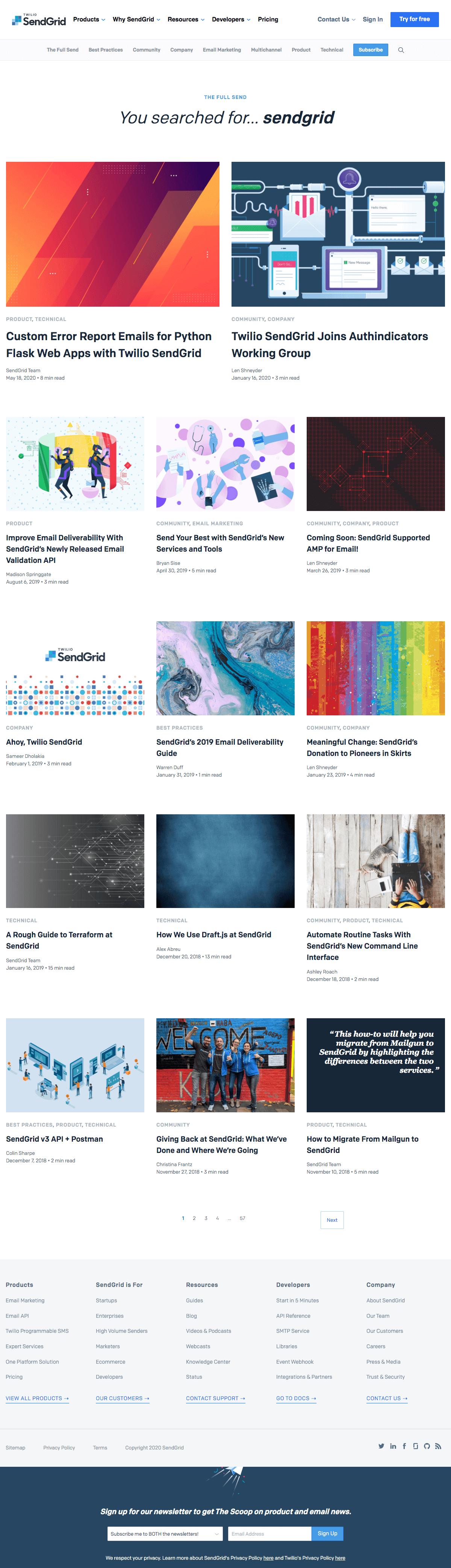 SendGrid - Search results page