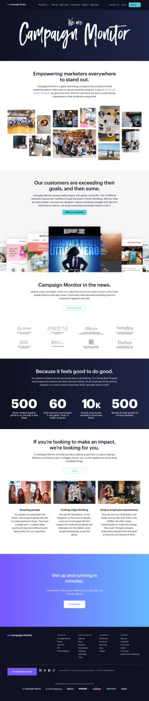 Campaign Monitor – About Us page