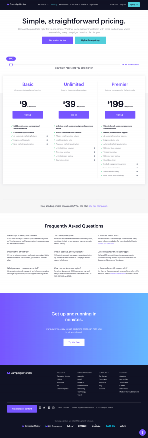 Campaign Monitor – Pricing page