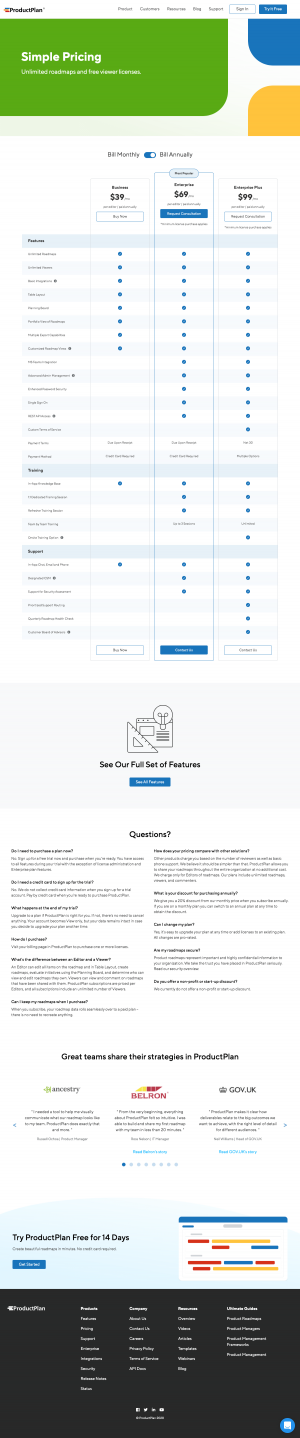 ProductPlan – Pricing page