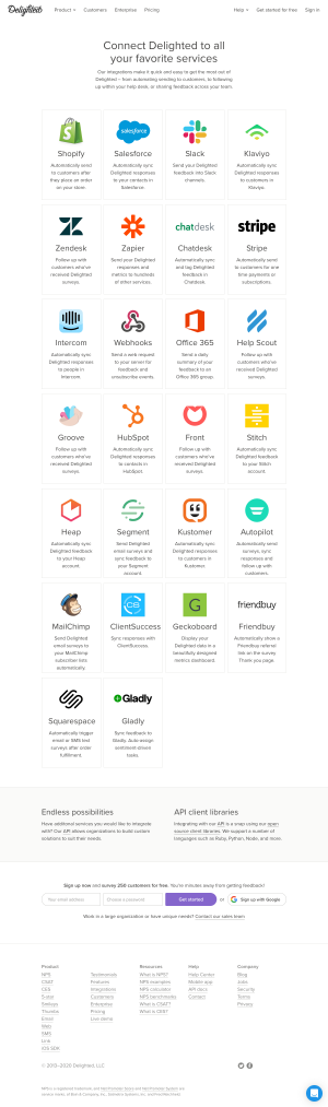Delighted – Integrations page 1