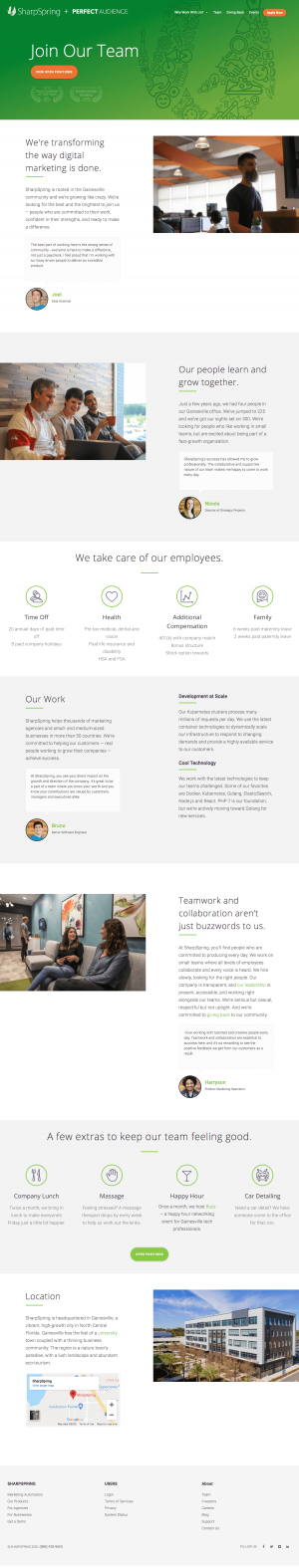 SharpSpring – Career page