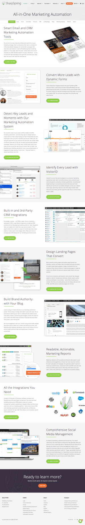 SharpSpring – Features page