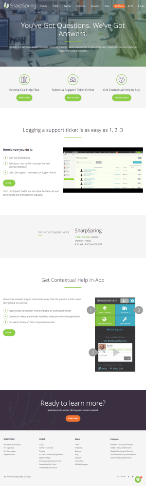 SharpSpring – Support page