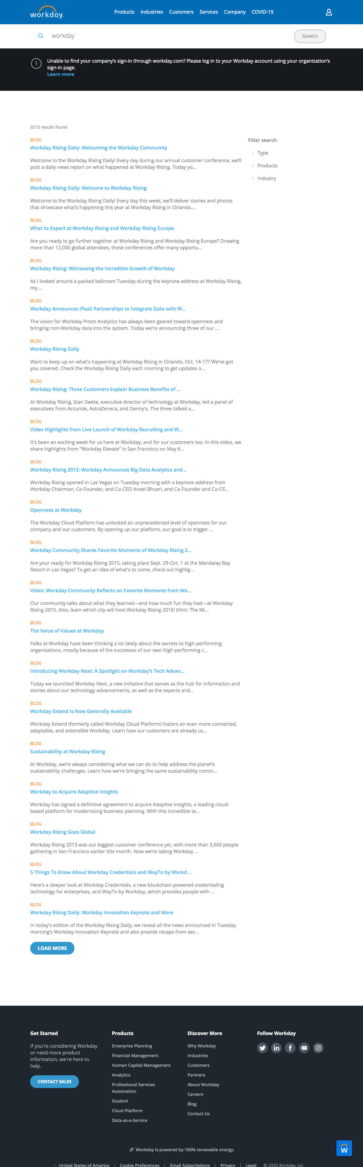 Workday - Search results page
