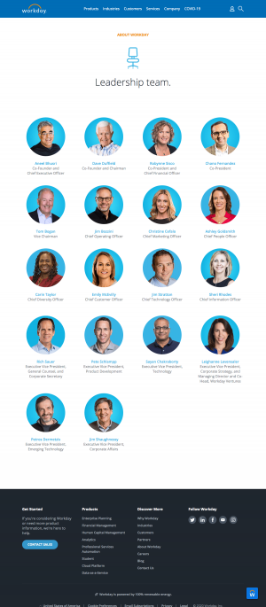 Workday – Team page