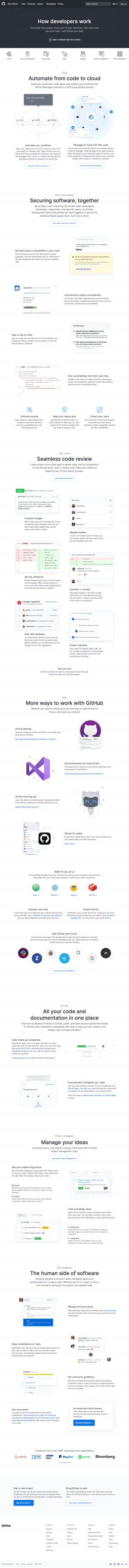 GitHub - Features page 1