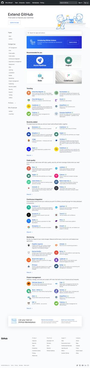 GitHub – Integrations page