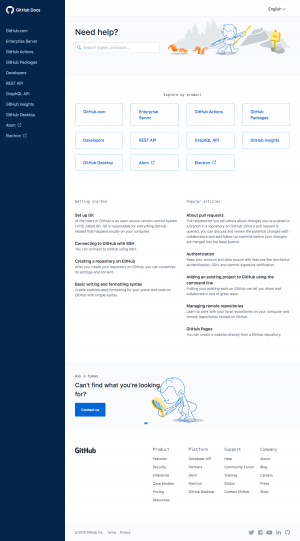 GitHub – Support page