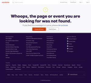 Eventbrite – 404 Error page