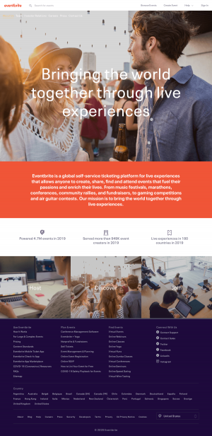 Eventbrite – About Us page
