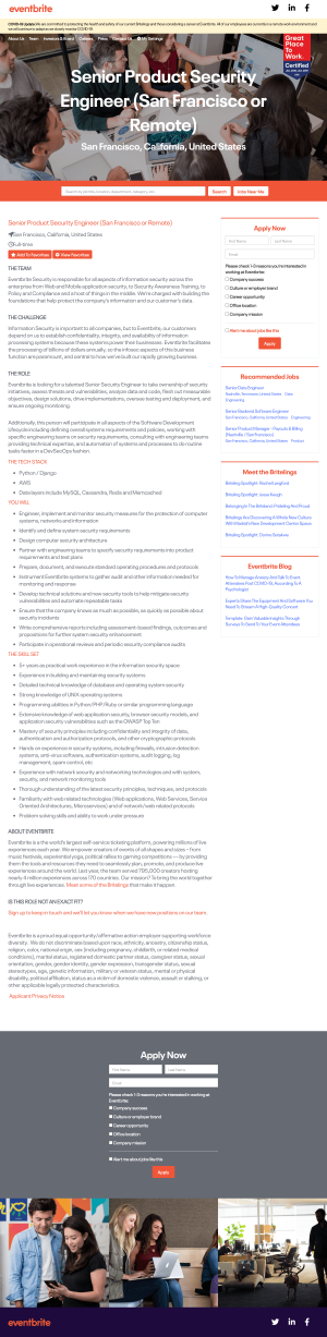 Eventbrite – Career page 2