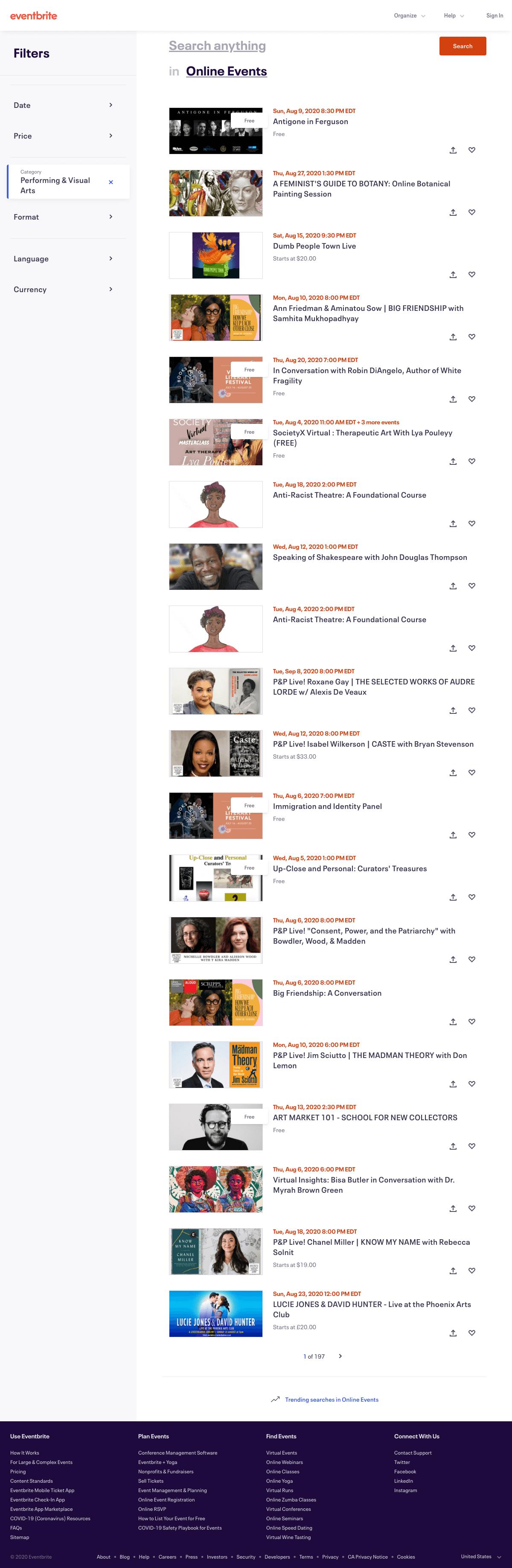 Eventbrite - Search results page