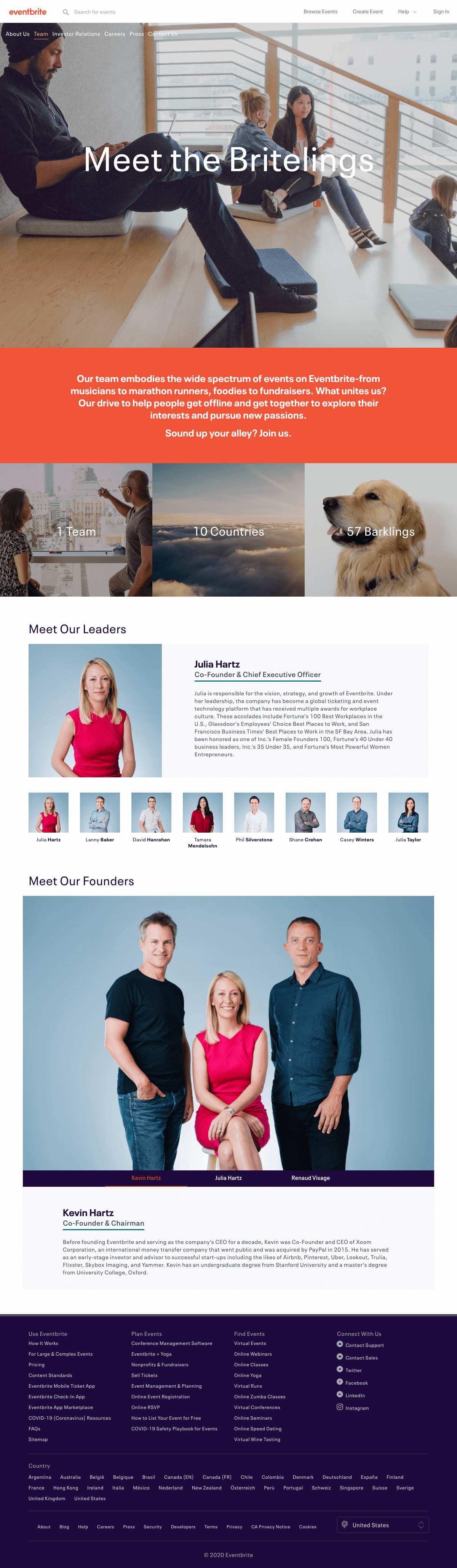 Eventbrite – Team page