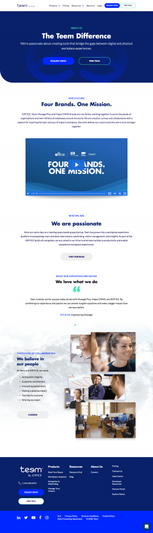 Teem – About Us page