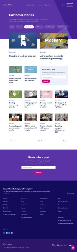 GlobalWebIndex – Customers page