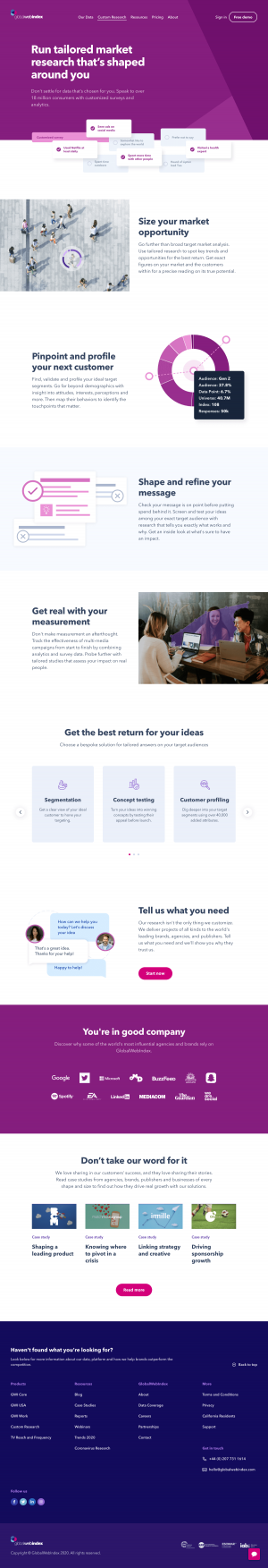 GlobalWebIndex – Features page