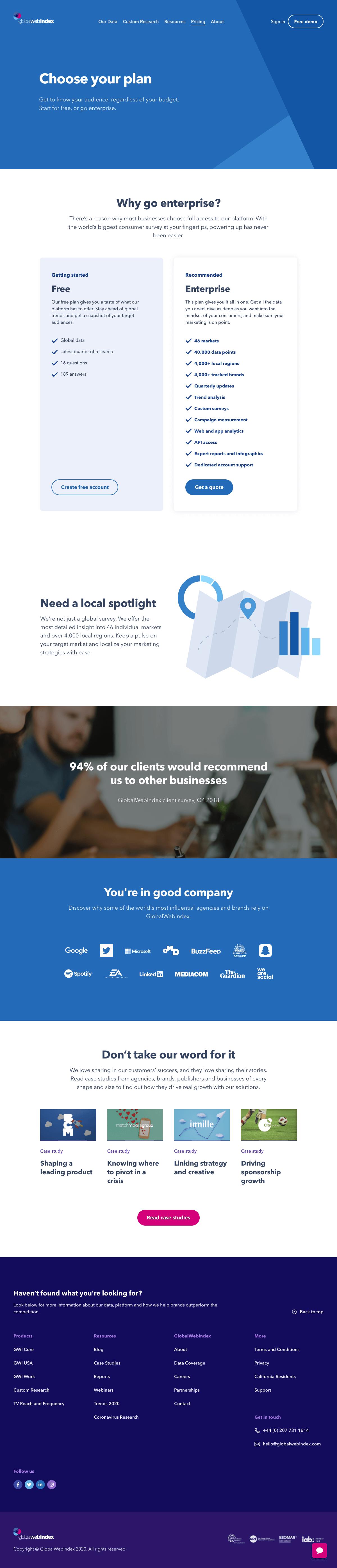 GlobalWebIndex – Pricing page