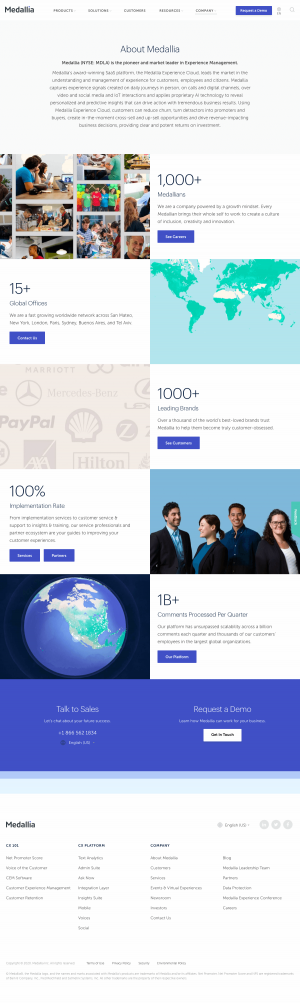 Medallia – About Us page
