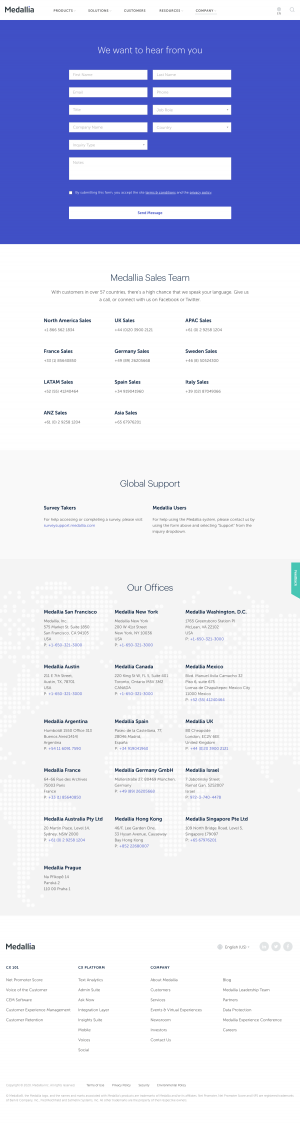 Medallia – Contact page
