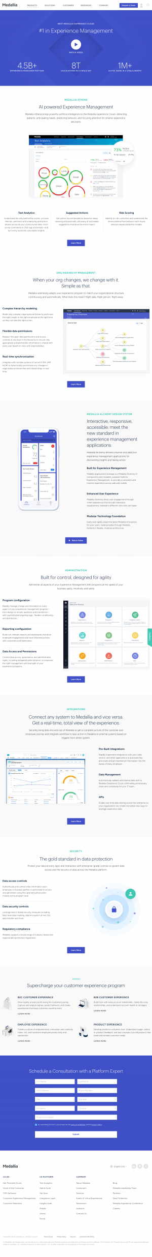 Medallia – Features page